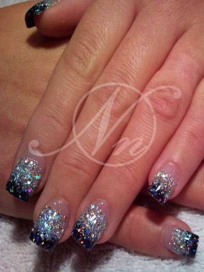 Acrylic Gel Nail Art Gallery Pictures Crushed Shell Glitter Nails