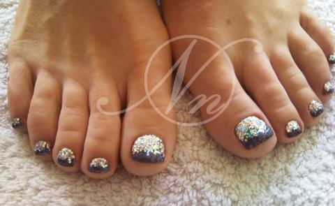 93 Toe Nail Art With Glitter Pink Floral Toe Nail Design With A
